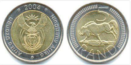Moneda similar a los 2 euros de Sudafrica