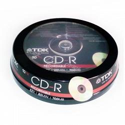 CD-R TDK 52x 700Mb tarrina 10 uds